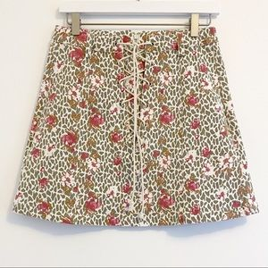 Umgee Floral Tie Front High Waisted Skirt